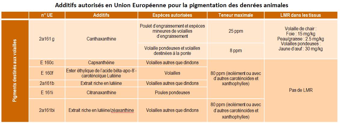 Additifs autorisés un Union Européenne pour la pigmentation des denrées animales